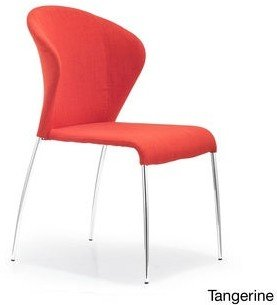 ZUO Oulu Steel and Tangerine, Graphite, or Pea Fabric Chair
