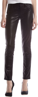 Fade to Blue Snake-Print Faux-Leather Pants, Black