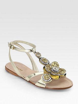 Miu Miu Glitter Jeweled Flower & Metallic Leather Sandals