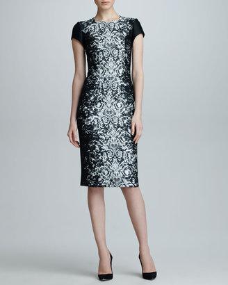 Carolina Herrera Abstract Lace Jacquard Dress, Black/Off-White