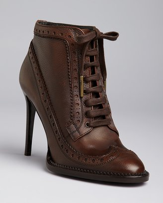 Burberry Lace Up Pointed Toe Oxford Booties - Gairloch High Heel