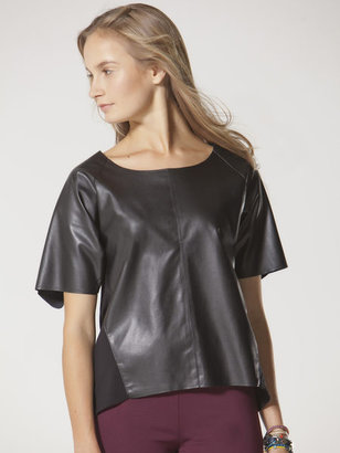 C&C California Short sleeve faux leather tee