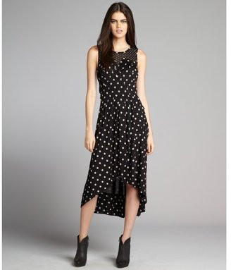 Marc by Marc Jacobs black and ivory georgia dot silk-modal knit and mesh pleated maxi dress