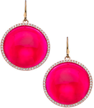 Madison Precious Jewels Rose Gold Sapphire and Pink Agate Drop Earrings