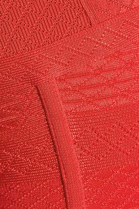 Herve Leger Crochet-effect bandage dress