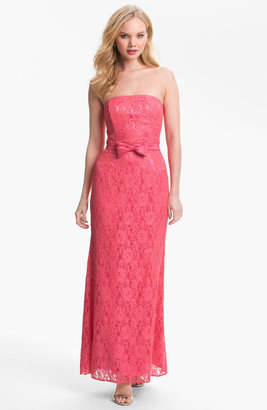 Jessica McClintock Strapless Embroidered Lace Gown