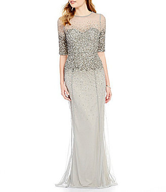 Adrianna Papell Beaded Sheer-Sleeve Gown $280 thestylecure.com