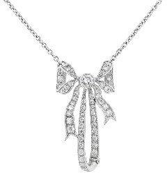 Other Designers Diamond Bow Pendant - Platinum