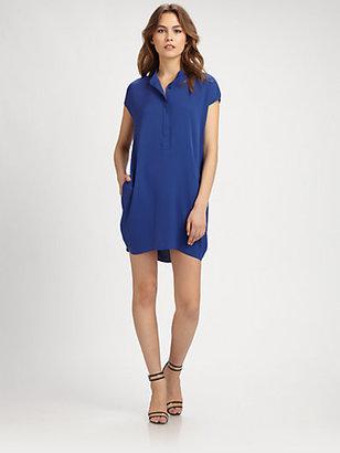 Vince Silk Half-Placket Dress