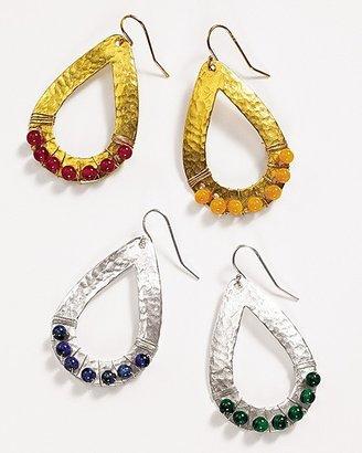 Sparkling Sage Hammered Teardrop Earrings