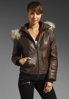 Soia & Kyo Unna Puffy Leather Removable Hood Bomber Jacket