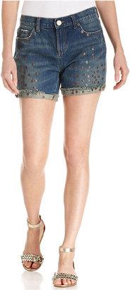 DKNY Shorts, Denim Cuffed Studded, Sinner Wash