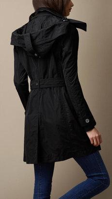 Burberry Mid-Length Technical Taffeta Hooded Trench Coat