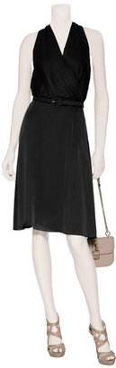 Ralph Lauren Black Label Navy Satin Face Mousseline Daphne Ann Dress