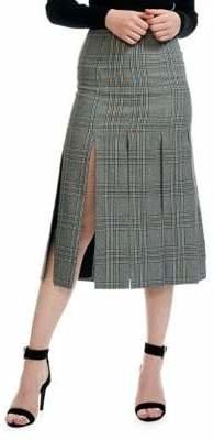 Maje Jlino Check Flared Midi Skirt