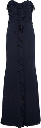 Badgley Mischka Ruffled chiffon gown
