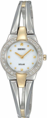 Seiko Womens Two-Tone Crystal Accent Solar Watch SUP206