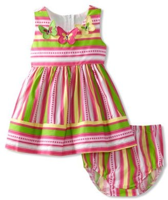 Bonnie Baby Girls Infant Stripe Butterfly Applique Sundress