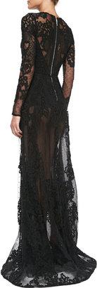 Elie Saab Long-Sleeve Sheer-Lace Gown