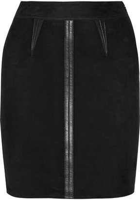 Alexander Wang Suede and wool-blend mini skirt