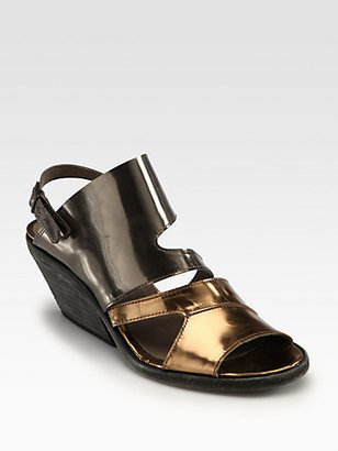 Ld Tuttle Forward Mirror Leather Slingback Wedges