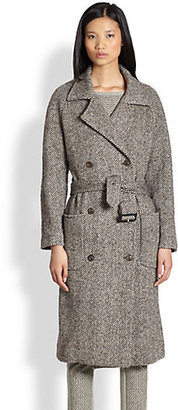 See by Chloe Belted Herringbone Double-Breasted Trenchcoat
