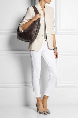 Bottega Veneta Maxi Veneta Intrecciato Leather Shoulder Bag - Dark brown