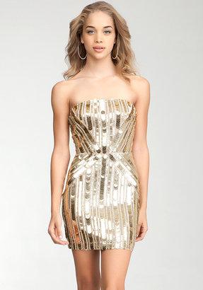 Bebe Multi Sequin Geometric Strapless Dress