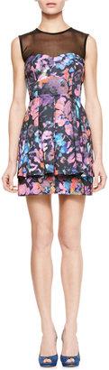 Nanette Lepore Magical Printed Sheer-Top Dress