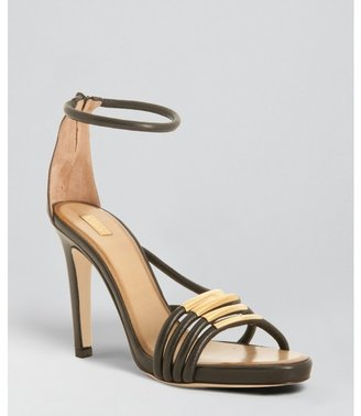 Chloé black leather gold bar strappy sandals