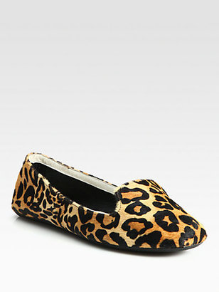 Charles Philip Shanghai Leopard-Print Calf Hair Smoking Slippers