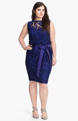 Tadashi Shoji Ribbon Tie Lace Overlay Dress (Plus)