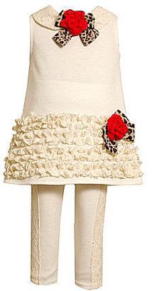 Bonnie Jean 2T-6X Ruched-Trim Lace Dress & Knit Leggings Set