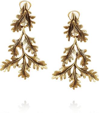 Oscar de la Renta Gold-plated oak leaf clip earrings