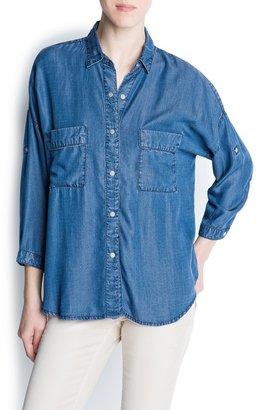 MANGO Oversized denim shirt