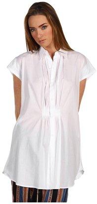 Yohji Yamamoto Y's by F Tuck Flare Short Sleeve Blouse (White) - Apparel