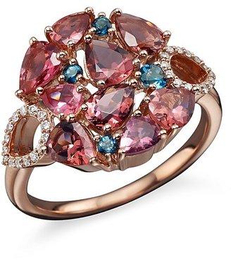 Roberto Coin 18K Rose Gold Fantasia London Blue Topaz and Pink Tourmaline Ring