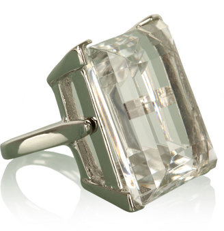 Kenneth Jay Lane Clear Crystal Cocktail Silver Ring
