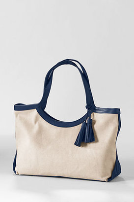 Lands' End Women's Small Kinzie Linen Tote Bag