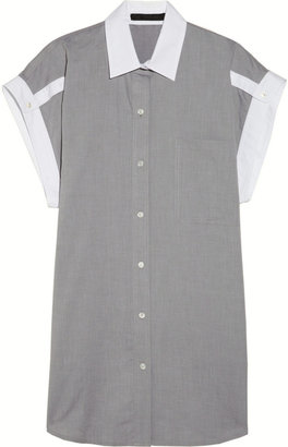 Alexander Wang Contrast-trimmed cotton-chambray shirt