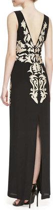 Nicole Miller Sleeveless Applique Leaf Column Gown, Black/Gold