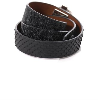 Givenchy Triple-wrap shagreen and python bracelet