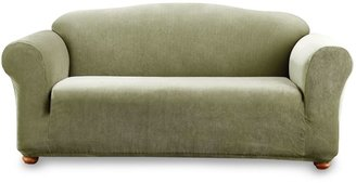 Bed Bath & Beyond Sure Fit® Stretch Stripe One-Piece Sofa Slipcover in Sage
