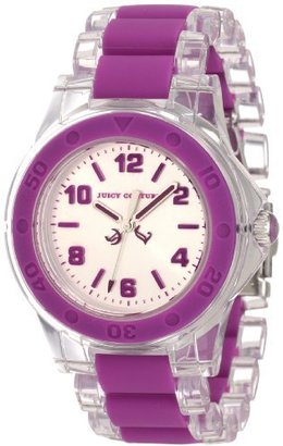 Juicy Couture Women's 1900868 Rich Girl Clear Plastic Bracelet With Purple Silicone Inlay Watch $67 thestylecure.com