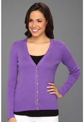 Anne Klein L/S V-Neck Cardigan (Orchid) - Apparel