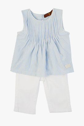 7 For All Mankind Girls 0-9m Pleated Top And Jean Set