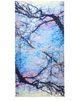 Lily & Lionel Tree sky-print silk scarf