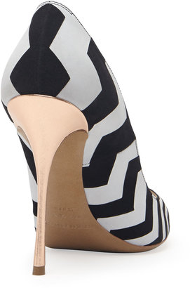 Nicholas Kirkwood Zigzag Suede Point-Toe Pump, Black/White