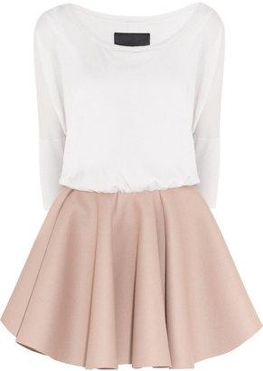 Jay Ahr Wool-blend and flared wool-felt dress