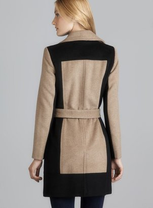 Calvin Klein Belted Wool Colorblock Coat